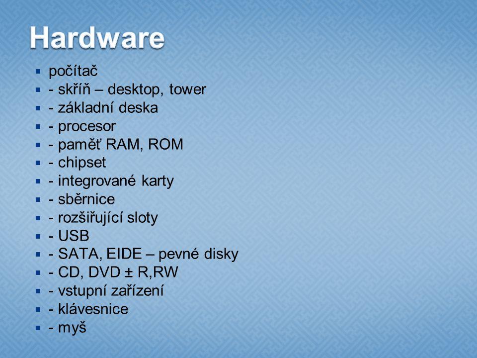 Hardware počítač - skříň – desktop, tower - základní deska - procesor