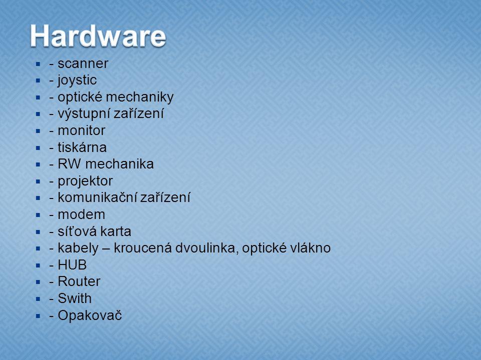 Hardware - scanner - joystic - optické mechaniky - výstupní zařízení