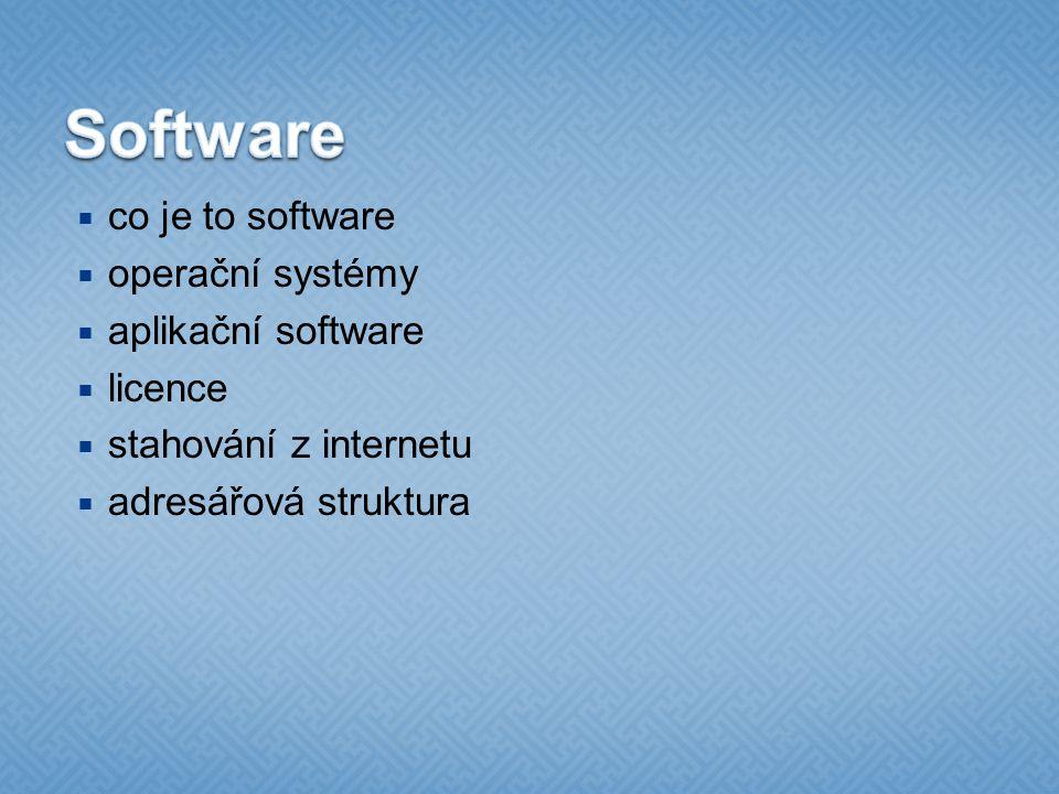 Software co je to software operační systémy aplikační software licence