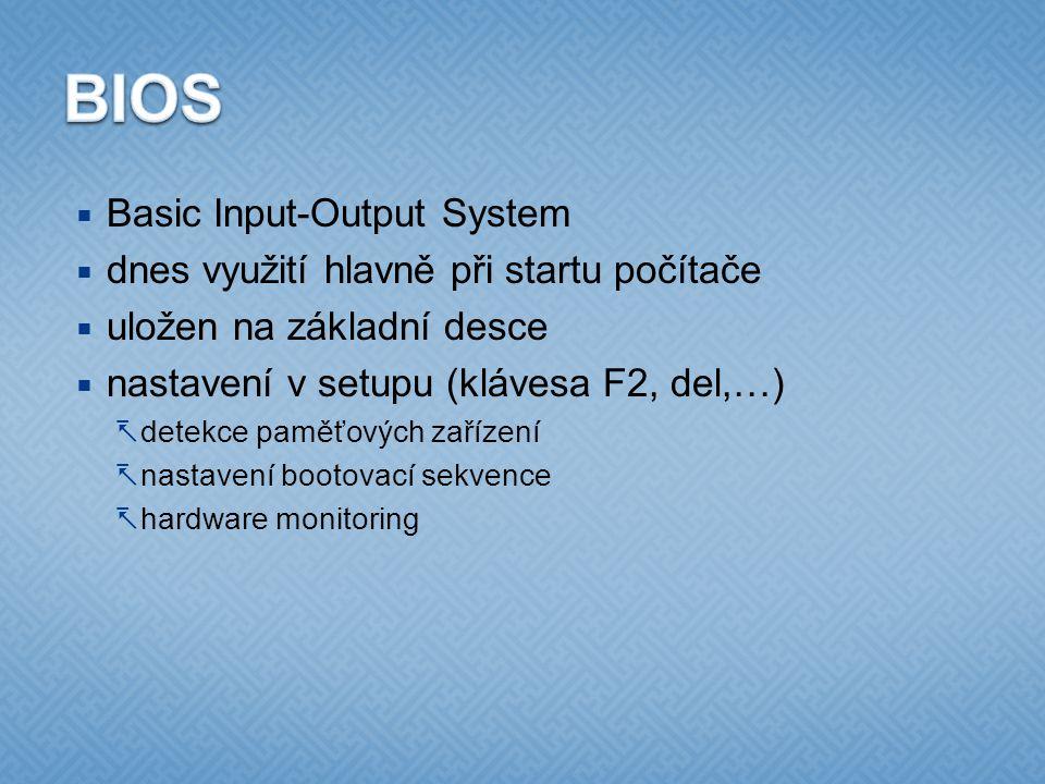 BIOS Basic Input-Output System dnes využití hlavně při startu počítače
