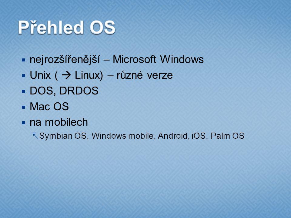 Přehled OS nejrozšířenější – Microsoft Windows