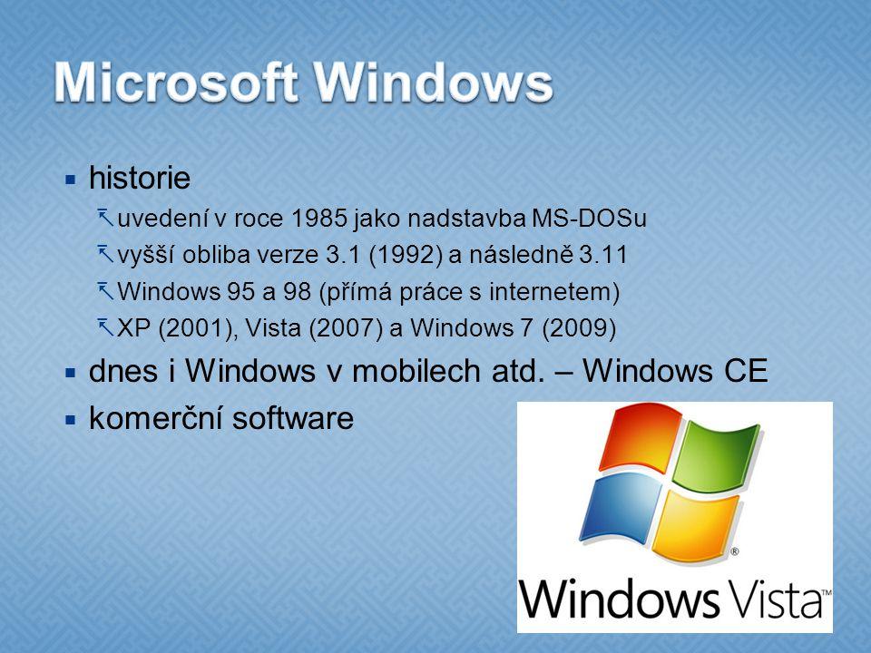 Microsoft Windows historie dnes i Windows v mobilech atd. – Windows CE