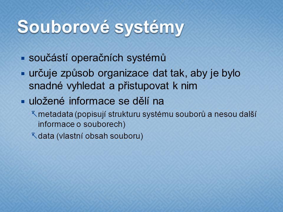 Souborové systémy součástí operačních systémů