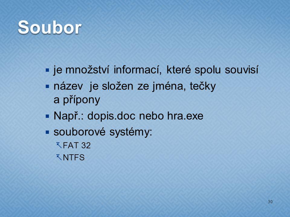 Soubor je množství informací, které spolu souvisí