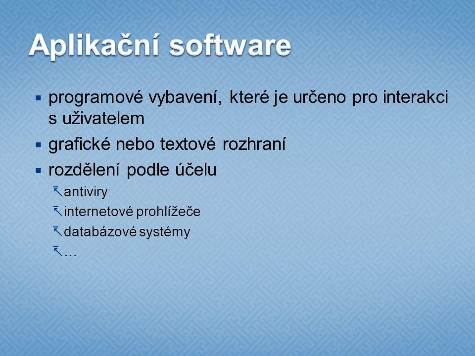 Aplikační software programové vybavení, které je určeno pro interakci s uživatelem. grafické nebo textové rozhraní.