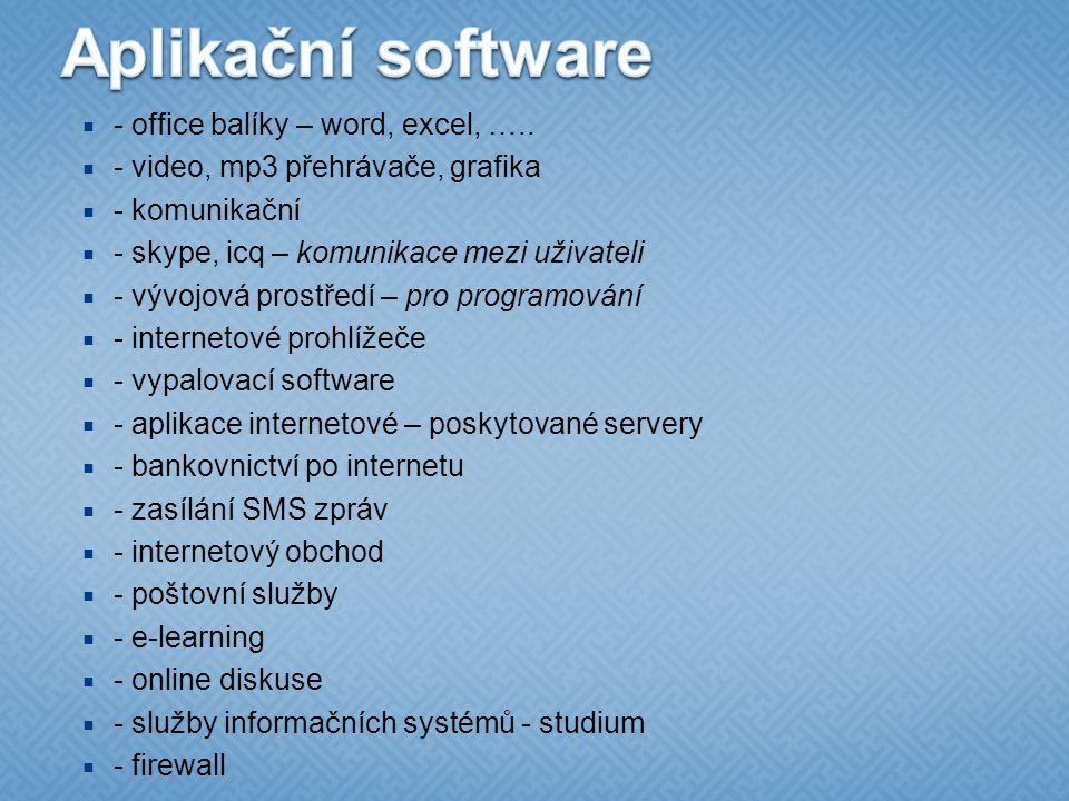 Aplikační software - office balíky – word, excel, …..