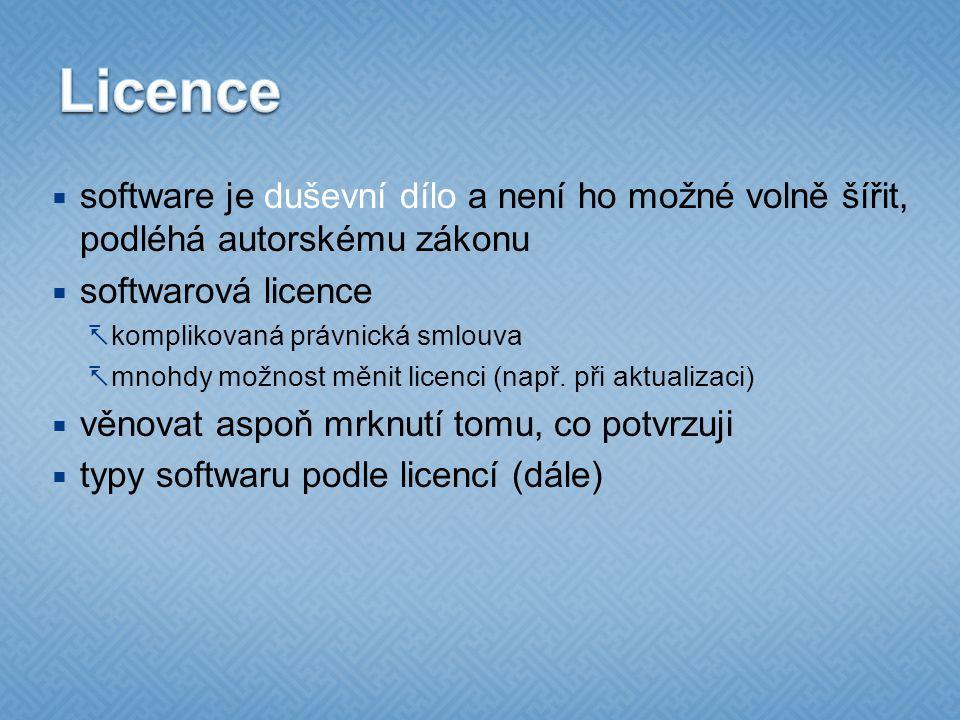 Licence software je duševní dílo a není ho možné volně šířit, podléhá autorskému zákonu. softwarová licence.