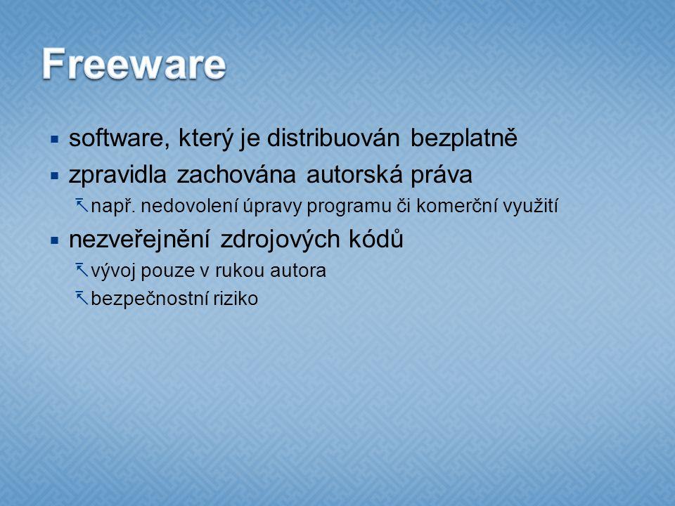 Freeware software, který je distribuován bezplatně