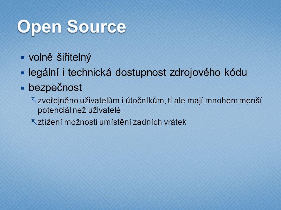 Open Source volně šiřitelný