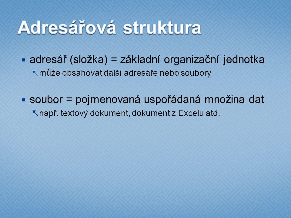 Adresářová struktura adresář (složka) = základní organizační jednotka
