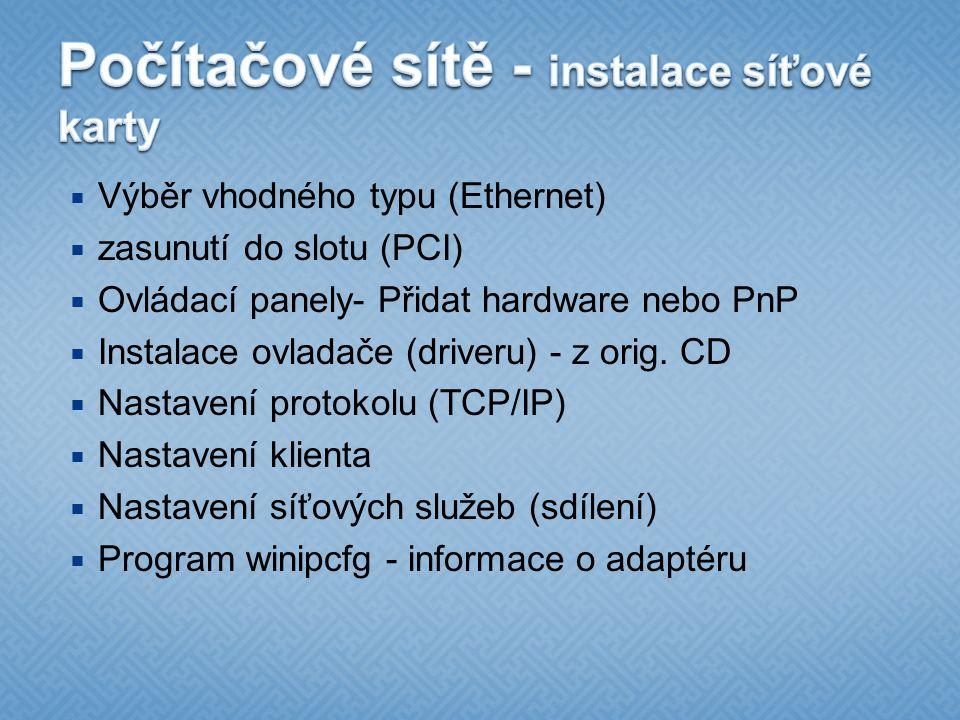Počítačové sítě - instalace síťové karty