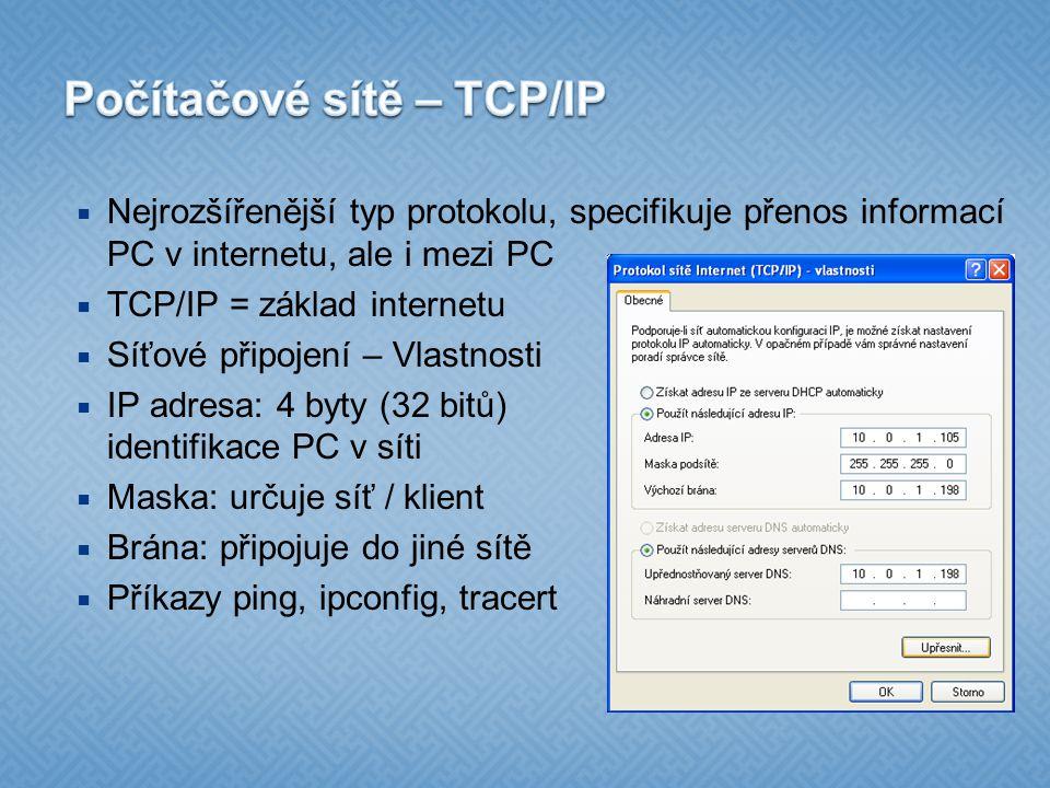 Počítačové sítě – TCP/IP