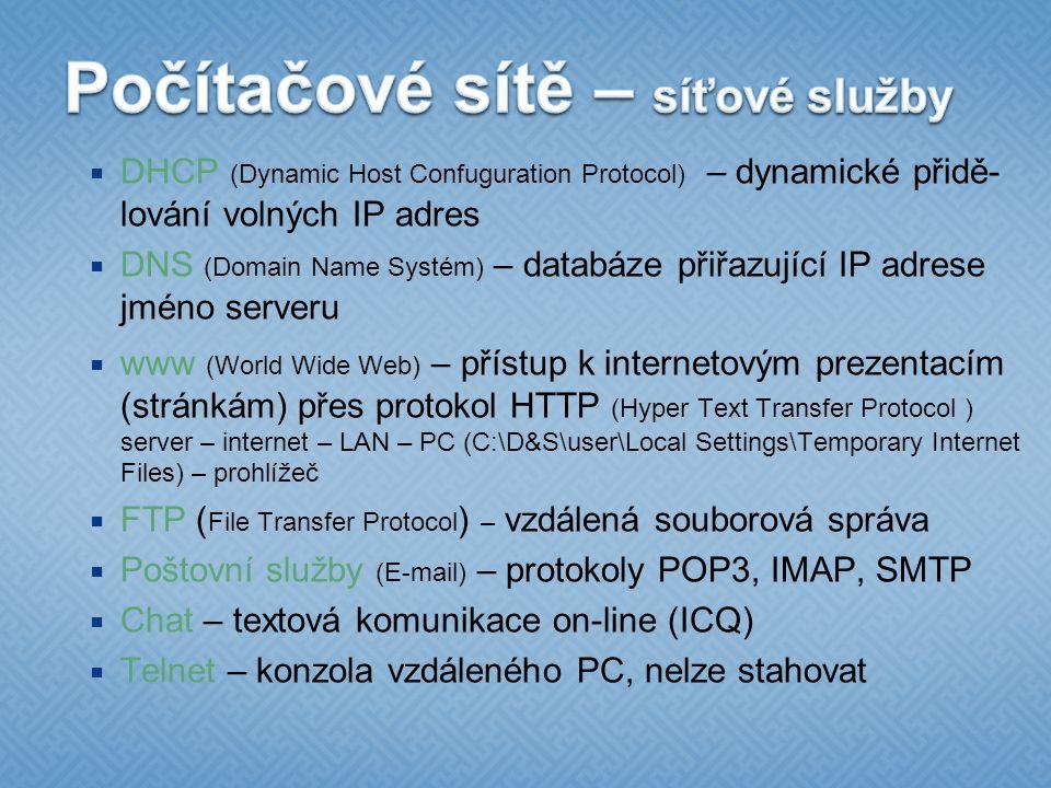 Počítačové sítě – síťové služby