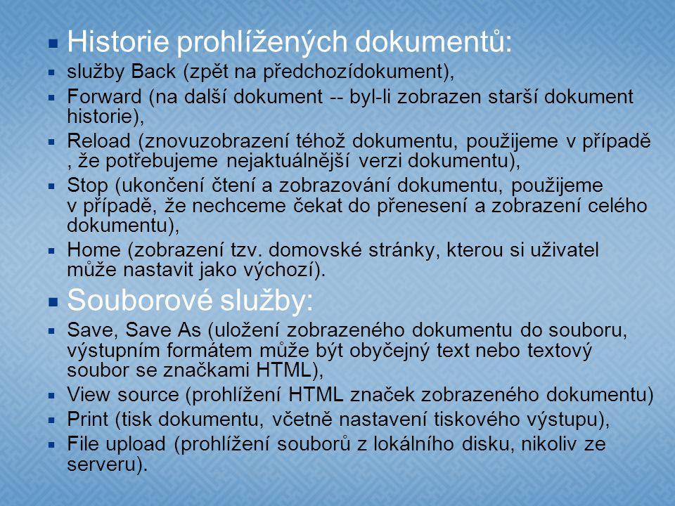 Historie prohlížených dokumentů: