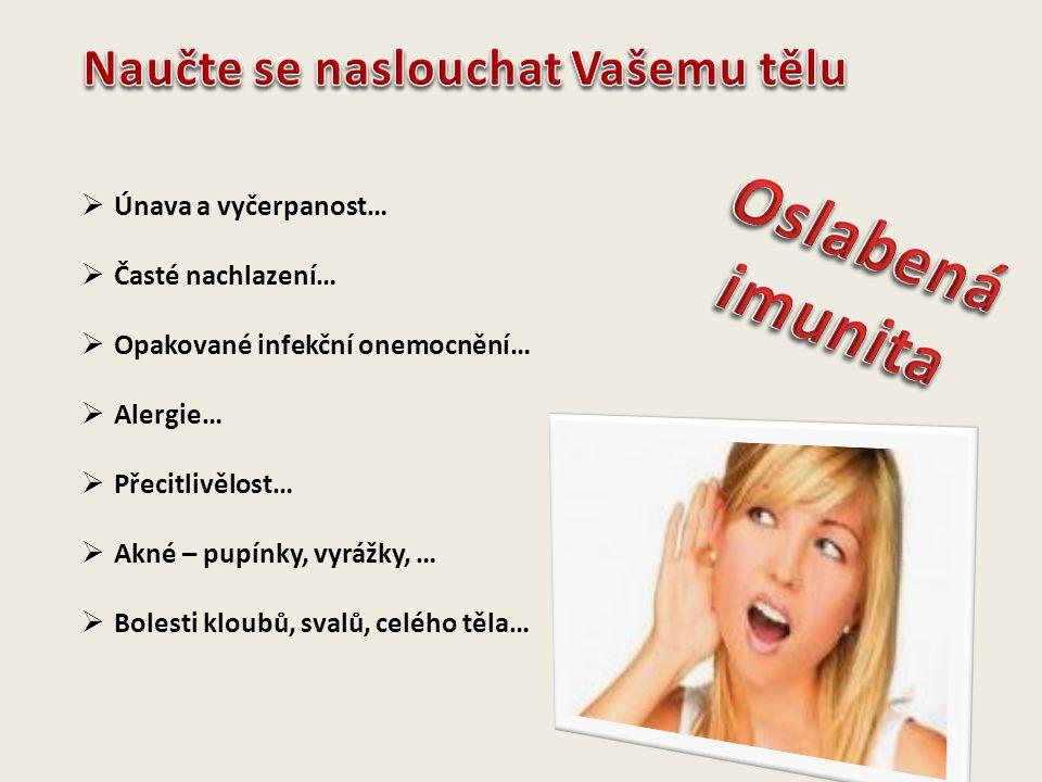 Oslabená imunita Naučte se naslouchat Vašemu tělu Únava a vyčerpanost…