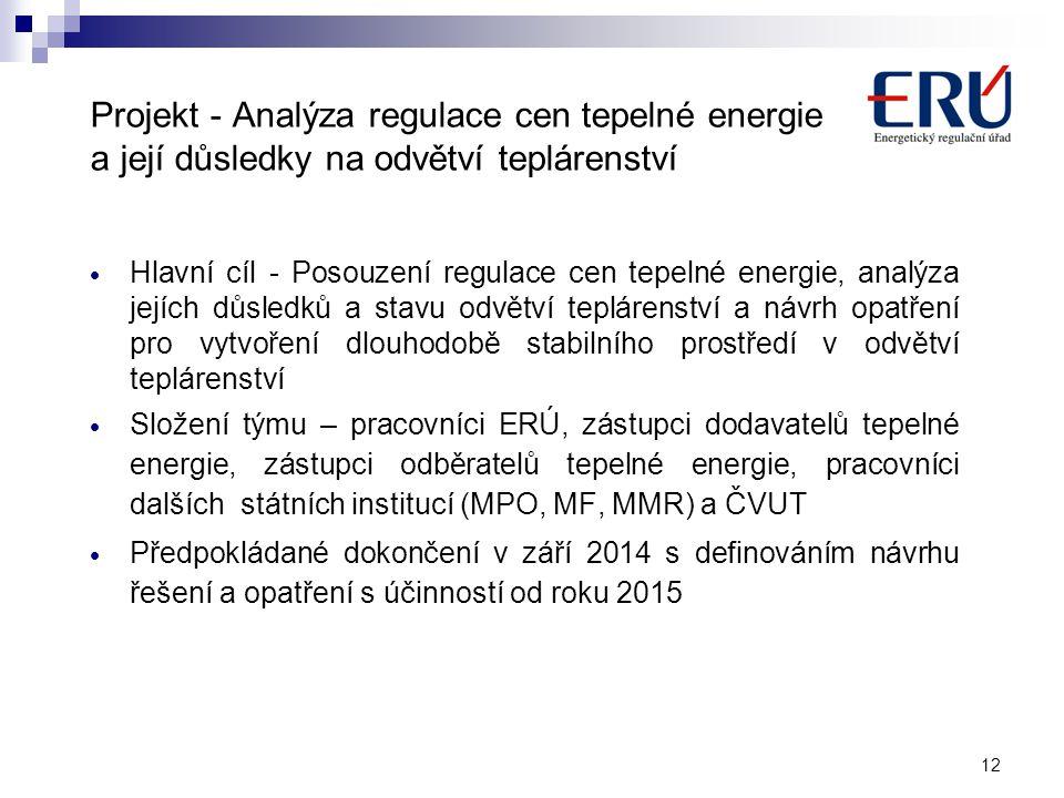 Projekt - Analýza regulace cen tepelné energie a její důsledky na odvětví teplárenství
