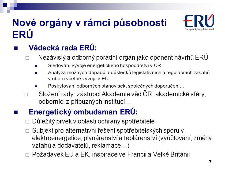 Nové orgány v rámci působnosti ERÚ