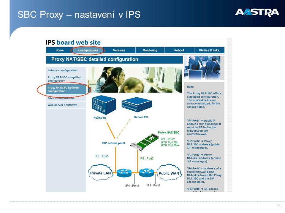SBC Proxy – nastavení v IPS