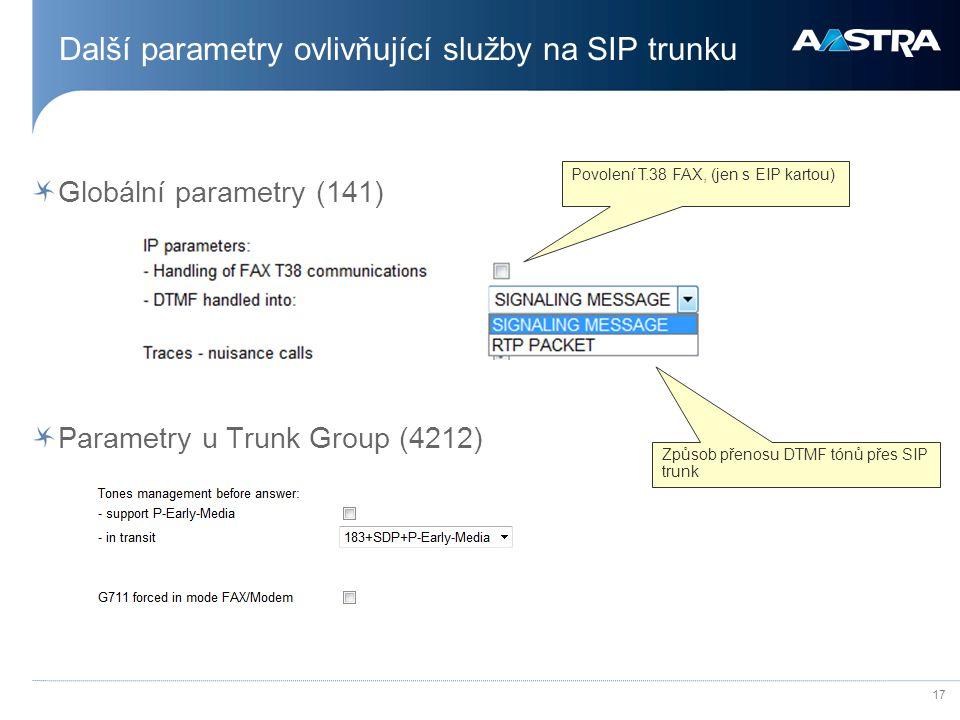 Další parametry ovlivňující služby na SIP trunku