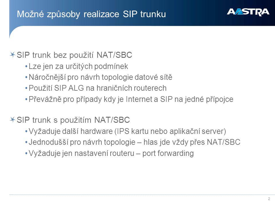 Možné způsoby realizace SIP trunku