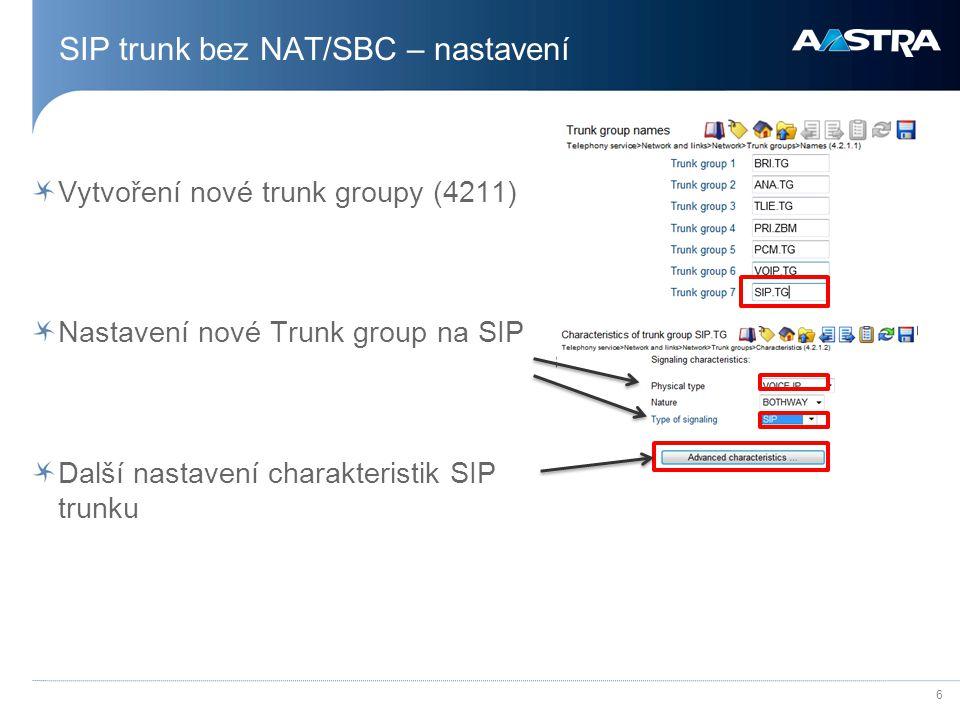 SIP trunk bez NAT/SBC – nastavení