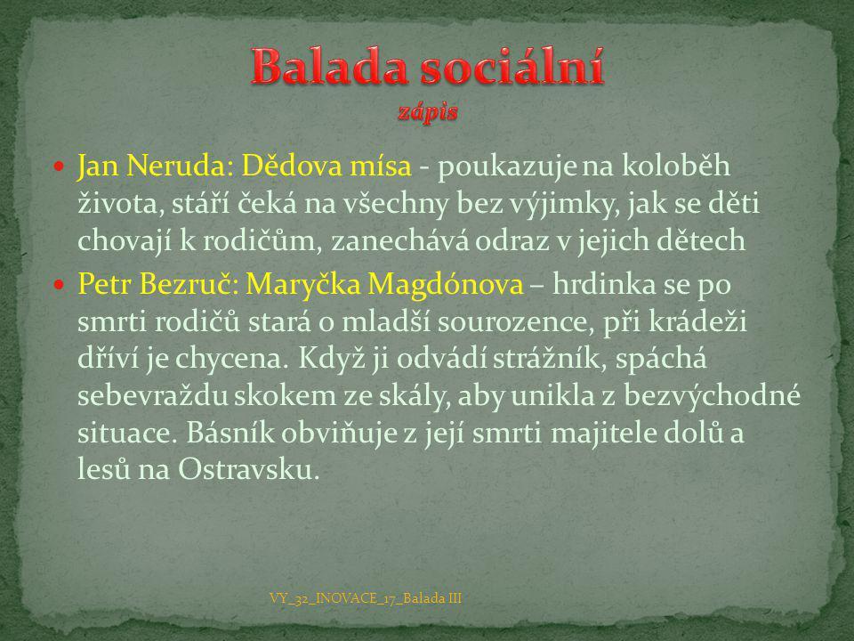 Balada sociální zápis