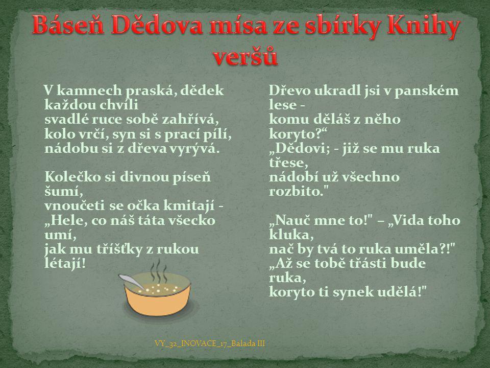 Báseň Dědova mísa ze sbírky Knihy veršů