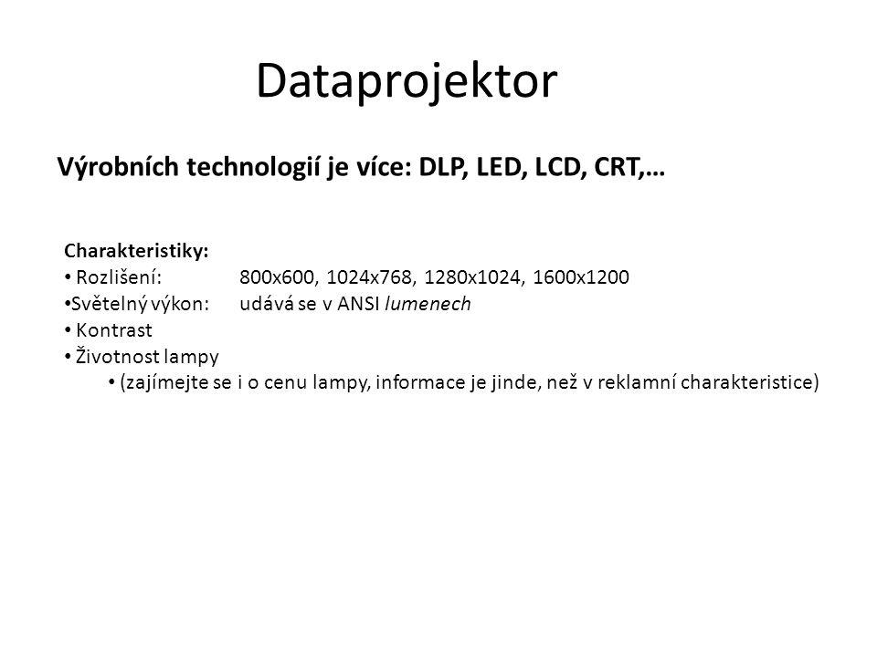 Dataprojektor Výrobních technologií je více: DLP, LED, LCD, CRT,…