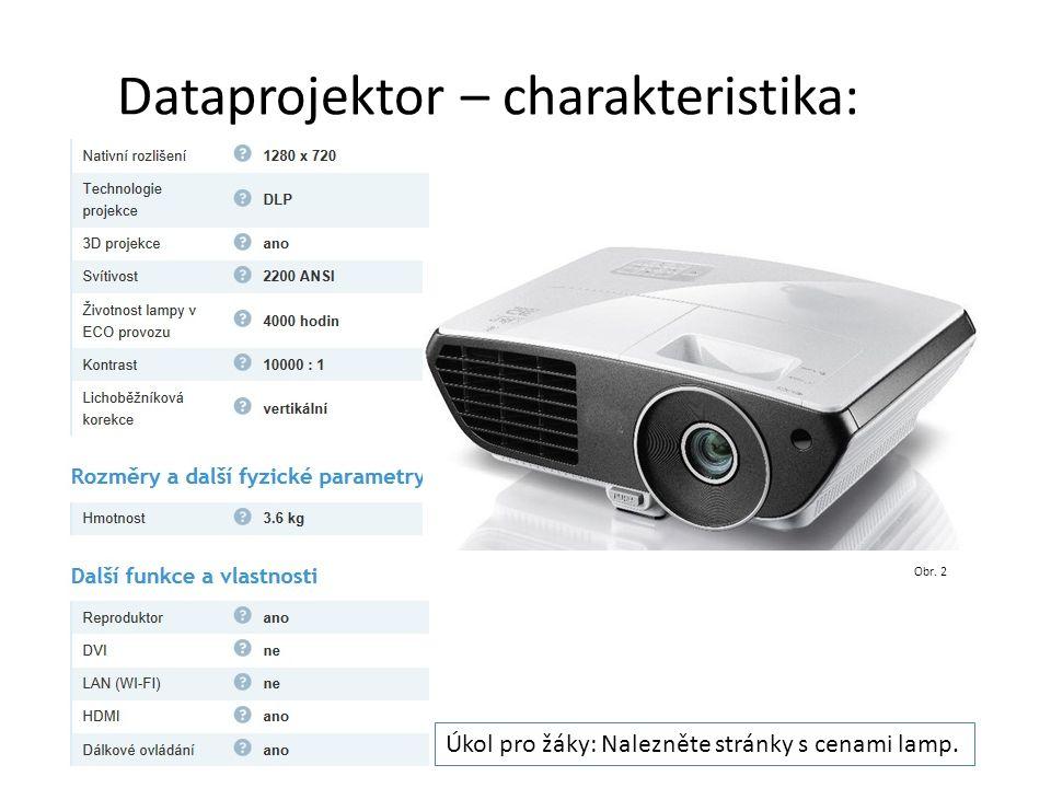 Dataprojektor – charakteristika: