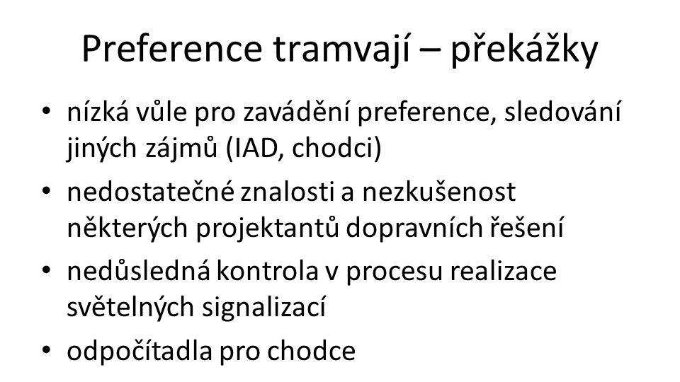 Preference tramvají – překážky