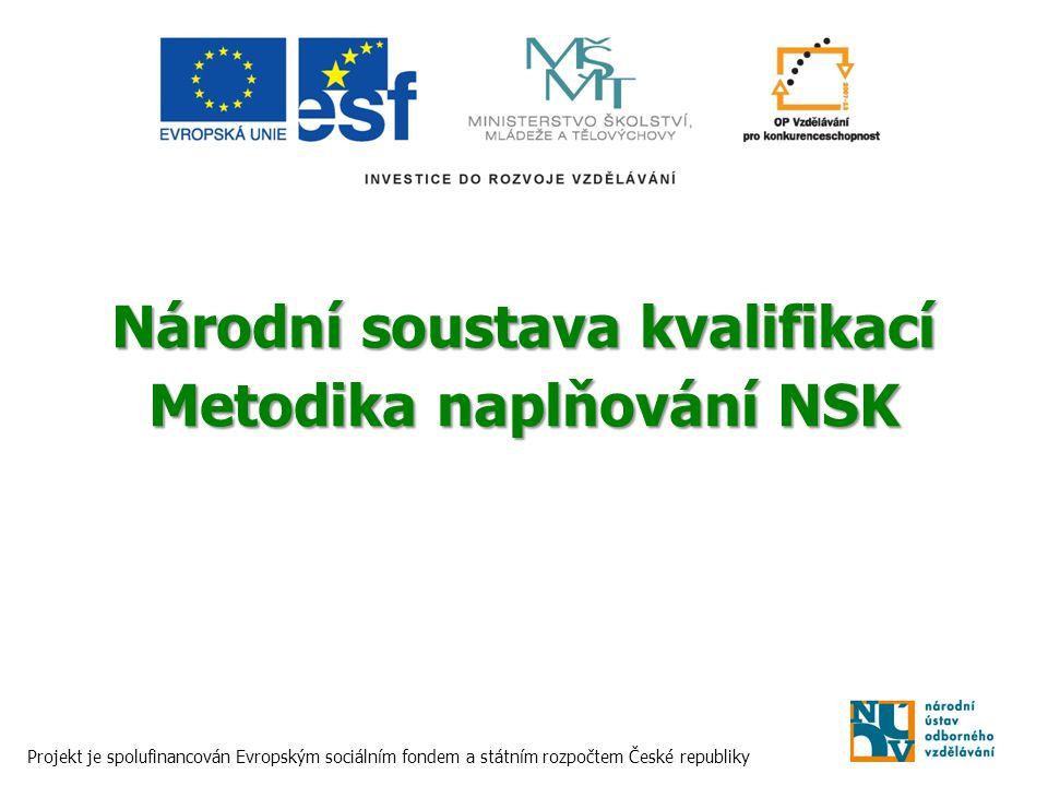 Národní soustava kvalifikací Metodika naplňování NSK