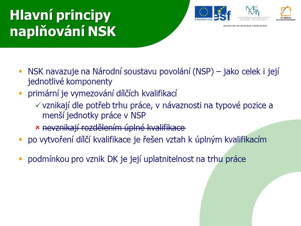 Hlavní principy naplňování NSK