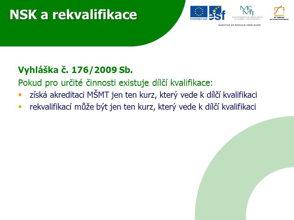 NSK a rekvalifikace Vyhláška č. 176/2009 Sb.