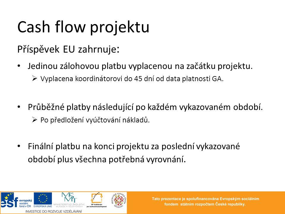 Cash flow projektu Příspěvek EU zahrnuje: