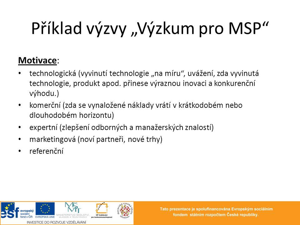 """Příklad výzvy """"Výzkum pro MSP"""