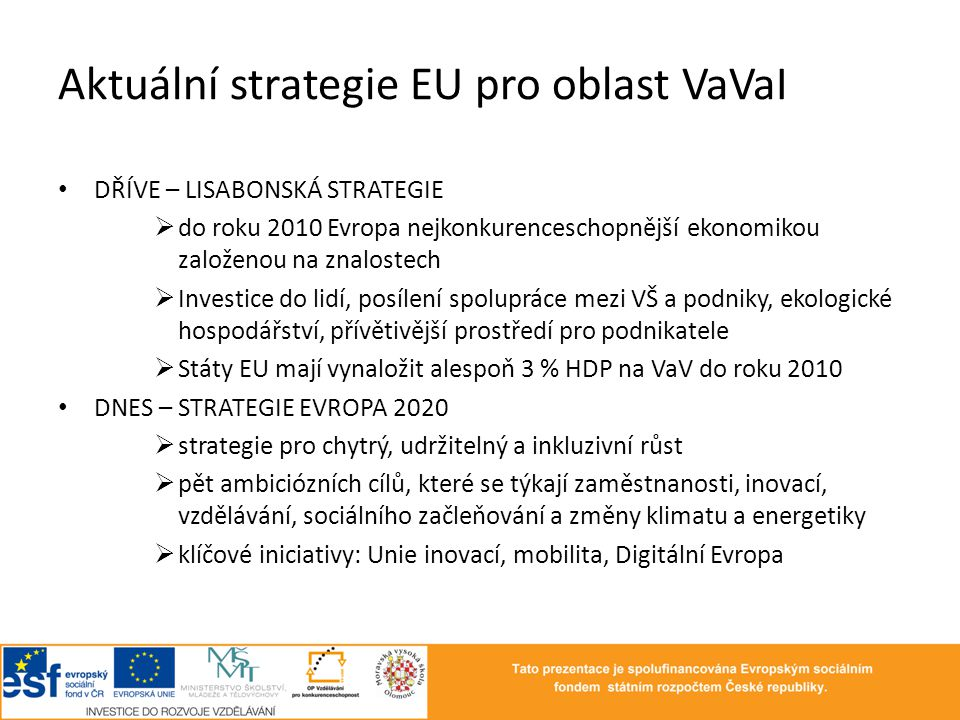 Aktuální strategie EU pro oblast VaVaI