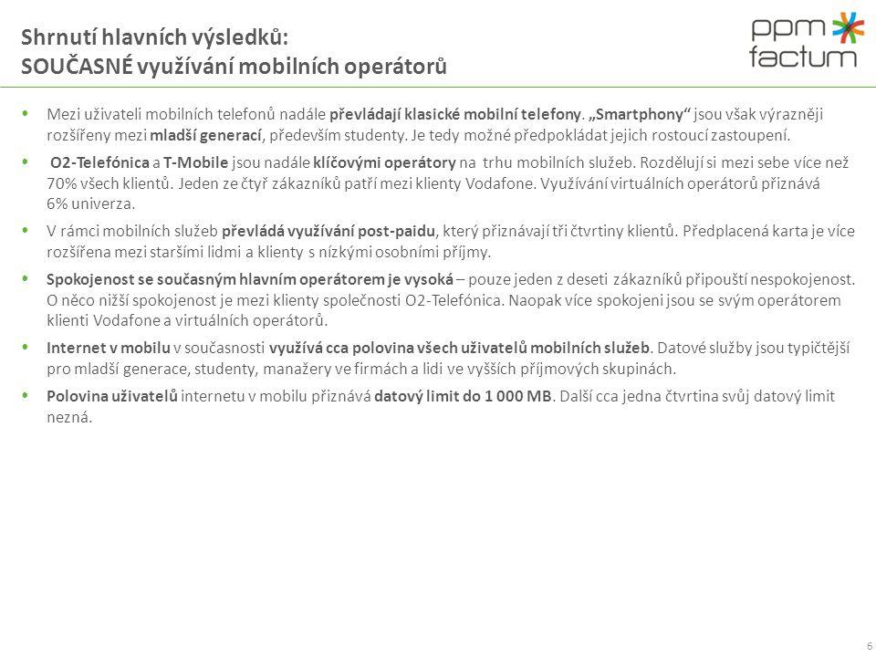 Shrnutí hlavních výsledků: SOUČASNÉ využívání mobilních operátorů
