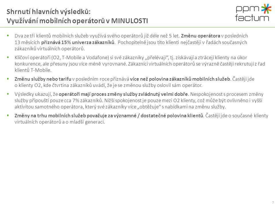 Shrnutí hlavních výsledků: Využívání mobilních operátorů v MINULOSTI