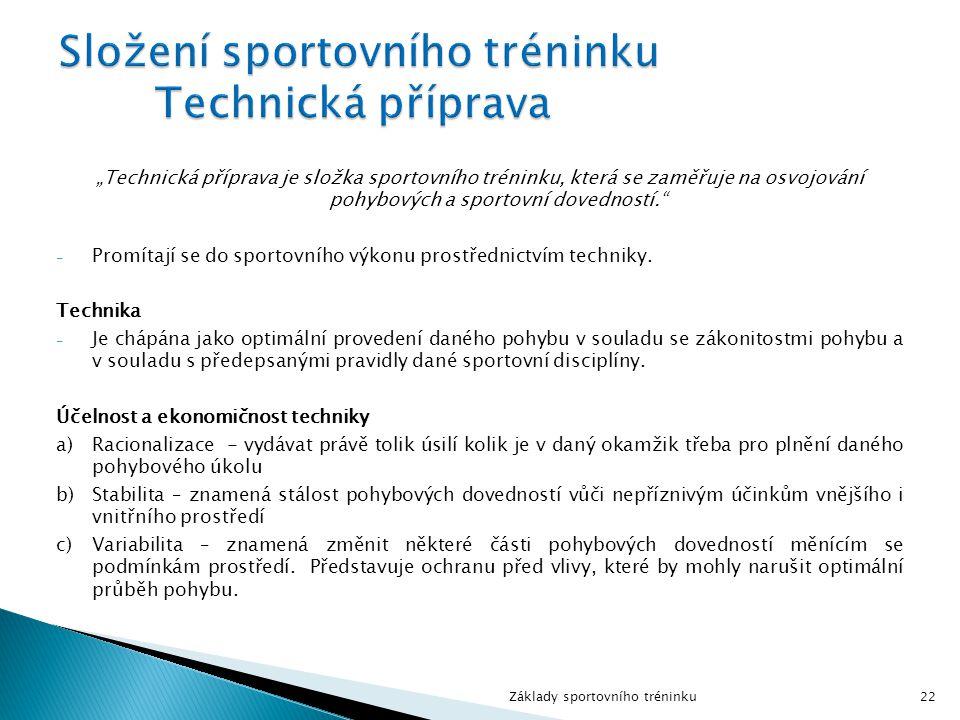 Složení sportovního tréninku Technická příprava