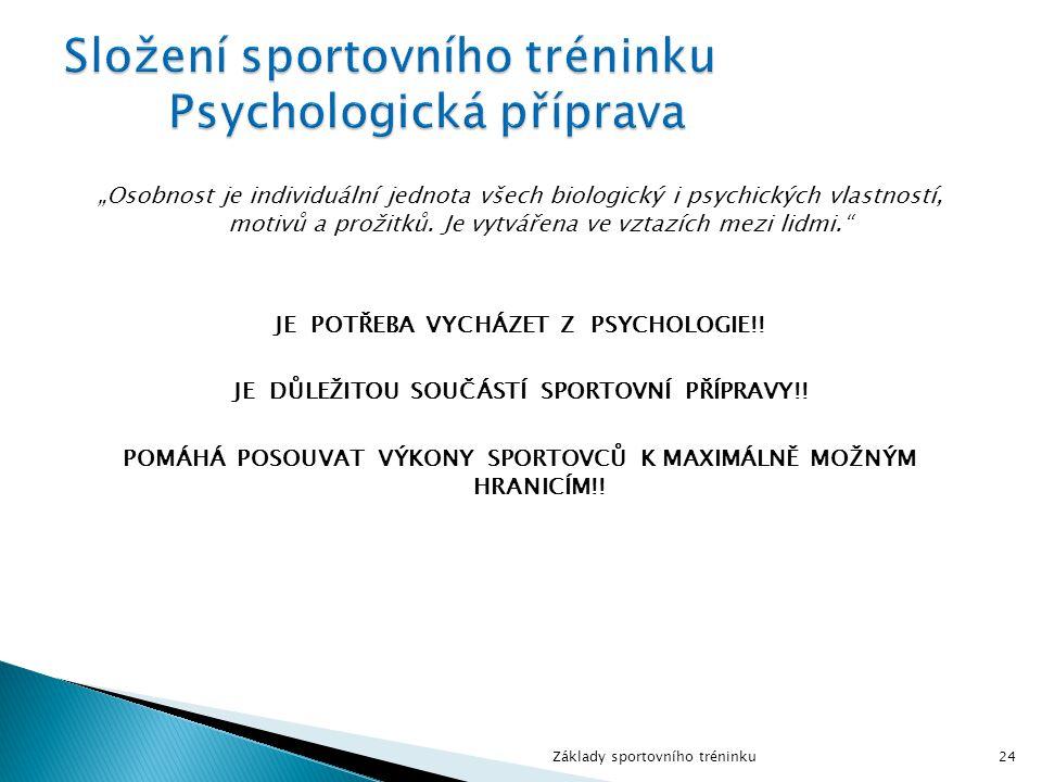 Složení sportovního tréninku Psychologická příprava