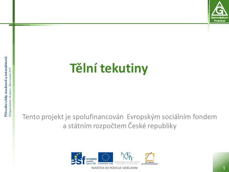 Tělní tekutiny Tento projekt je spolufinancován Evropským sociálním fondem a státním rozpočtem České republiky.