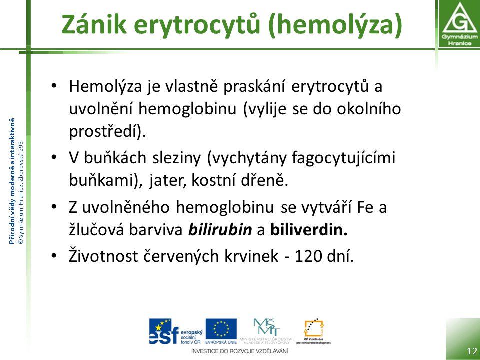 Zánik erytrocytů (hemolýza)