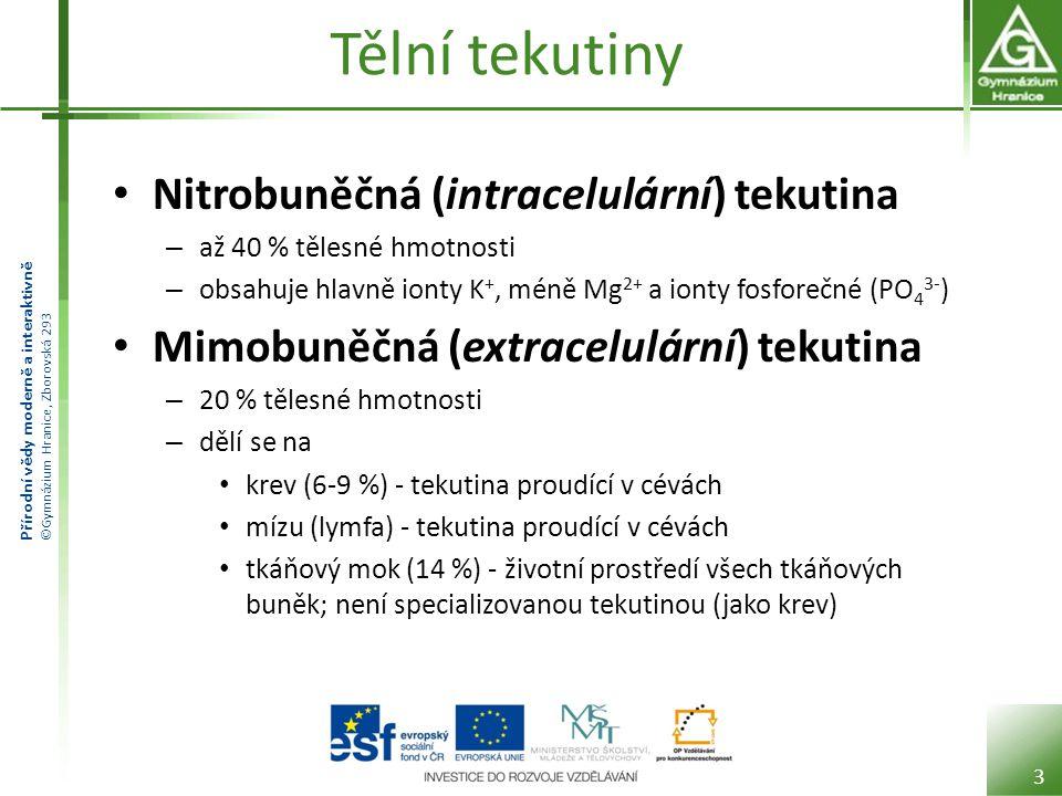Tělní tekutiny Nitrobuněčná (intracelulární) tekutina
