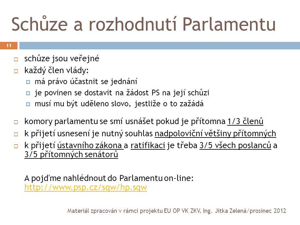 Schůze a rozhodnutí Parlamentu