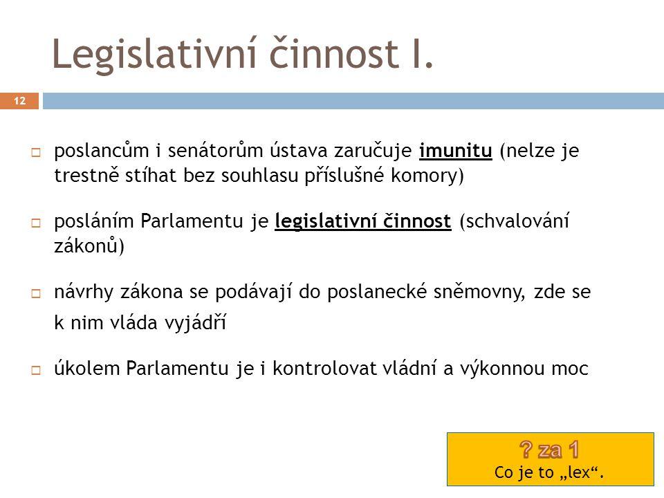 Legislativní činnost I.