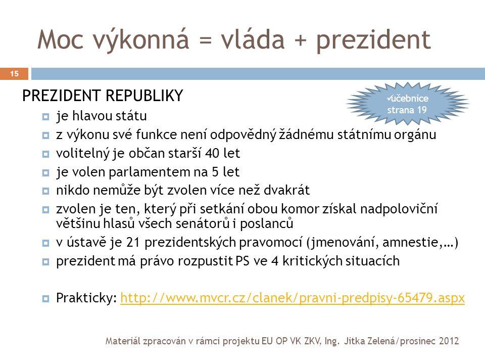Moc výkonná = vláda + prezident