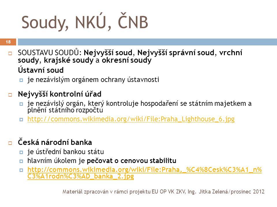Soudy, NKÚ, ČNB SOUSTAVU SOUDŮ: Nejvyšší soud, Nejvyšší správní soud, vrchní soudy, krajské soudy a okresní soudy.