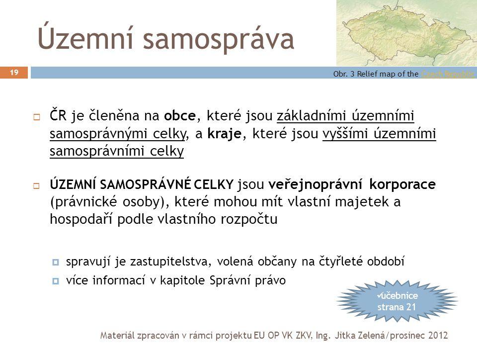 Územní samospráva Obr. 3 Relief map of the Czech Republic.