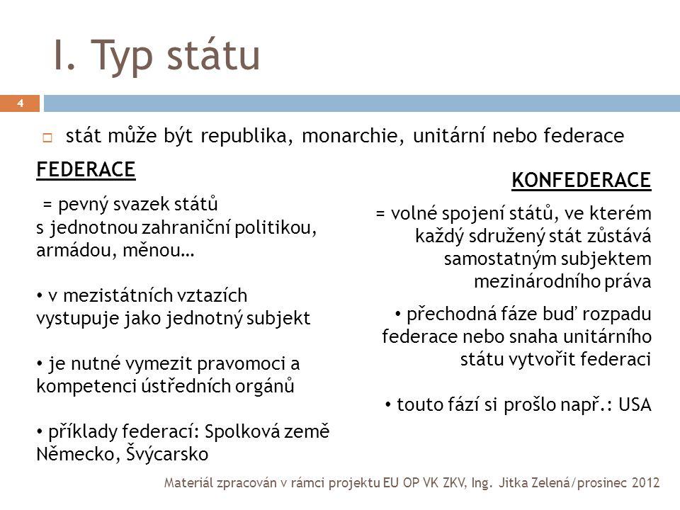 I. Typ státu stát může být republika, monarchie, unitární nebo federace. FEDERACE. = pevný svazek států.