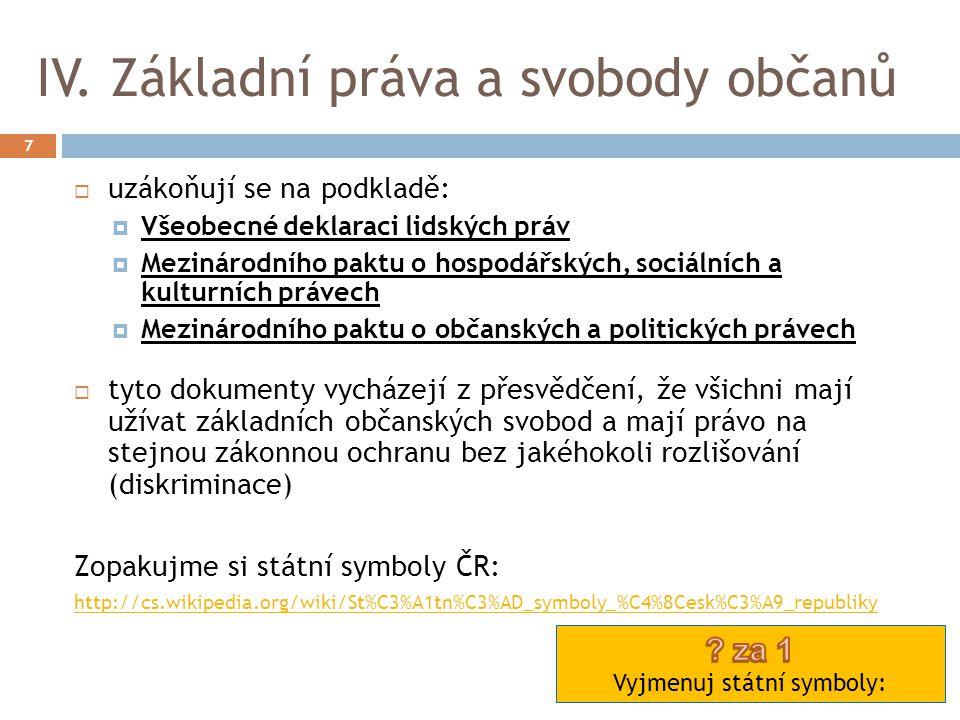 IV. Základní práva a svobody občanů